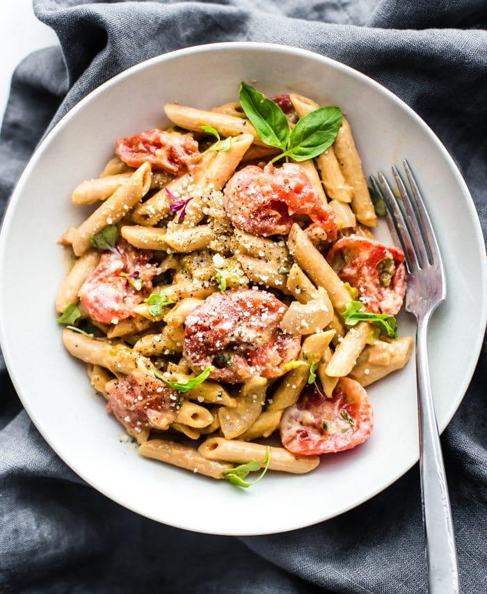 gluten free dinner meal idea: creamy tomato penne pasta