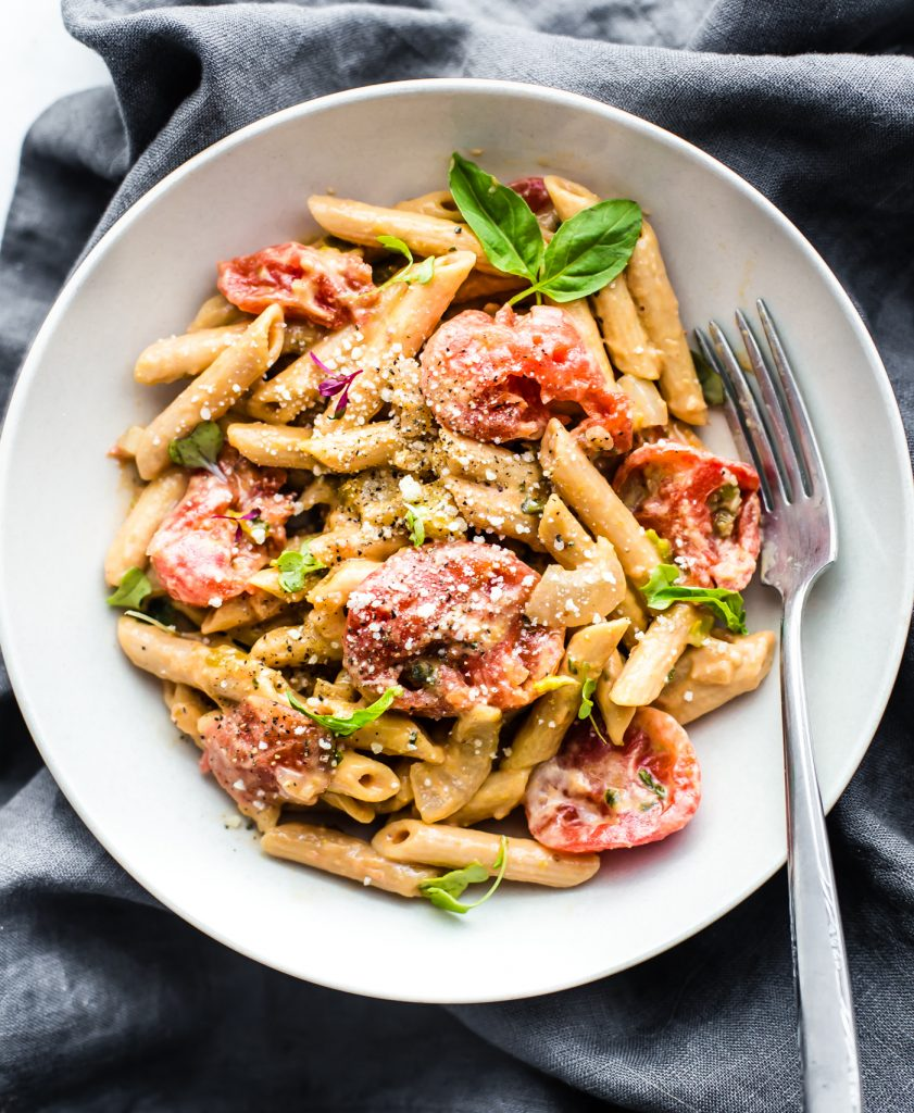 Creamy Tomato Gluten Free Penne Pasta - This gluten free pasta recipe is ALSO a vegetarian and dairy free recipe!