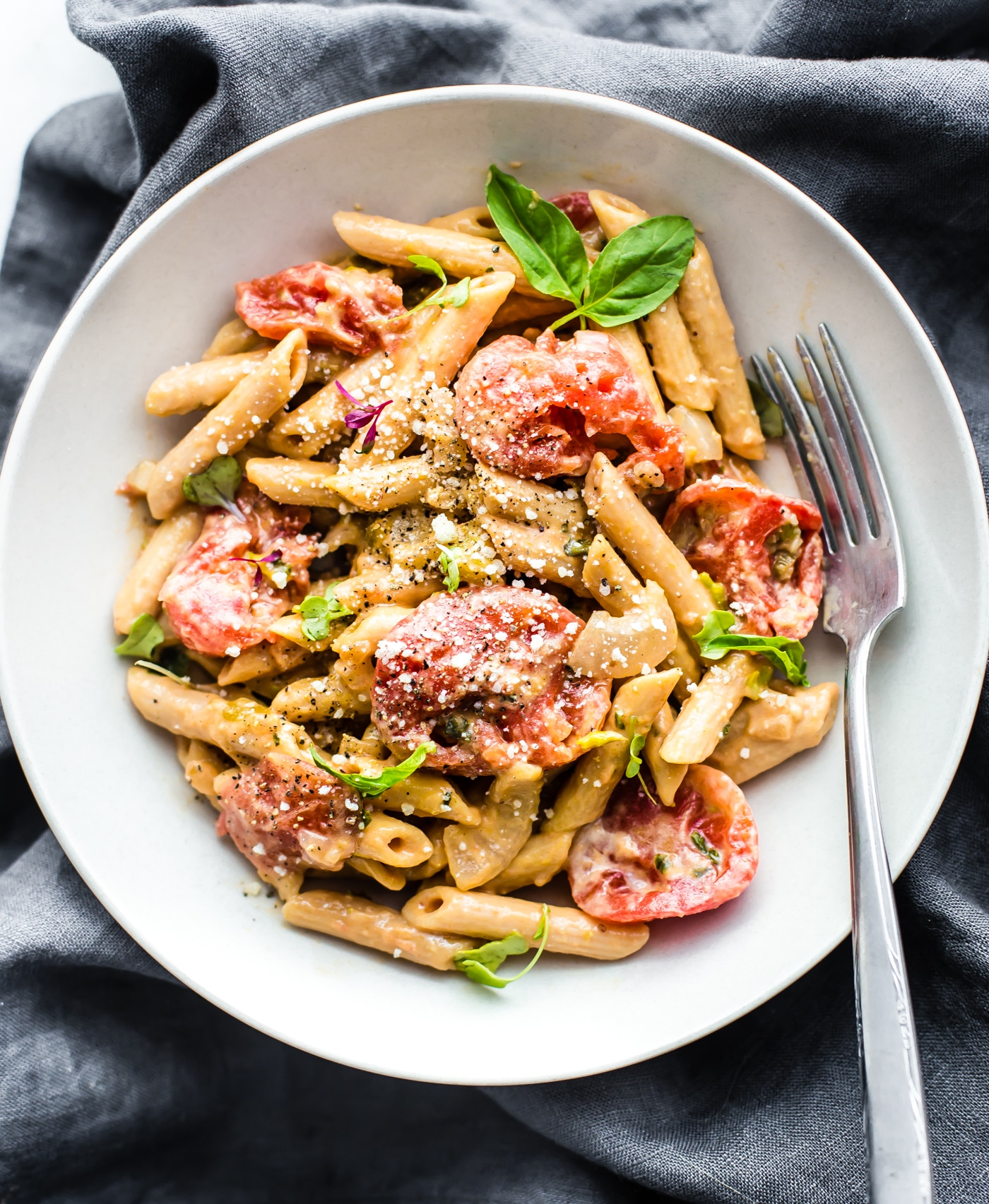 simple meatless pasta dinner made with gluten free pasta