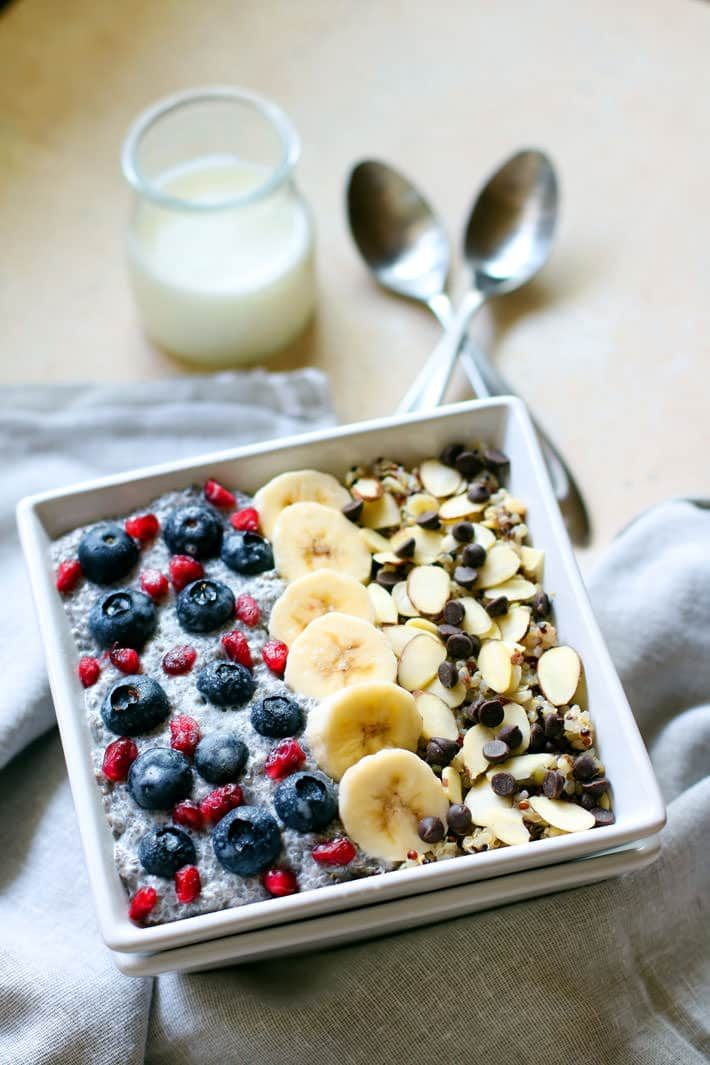 Real energy from real food! These gluten free breakfast power bowls are made with soaked quinoa and chia seed. The proper preparation for these antioxidant rich bowls can help POWER you through the day! Oh and they are SUPER delicious. VEGAN freindly