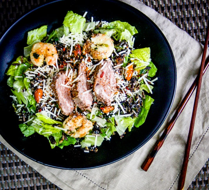 This surf and turf spicy caesar salad with curry is a healthy dish great for spicing up your salads while keeping your immune system strong! Easy to make and my version is gluten free of course!