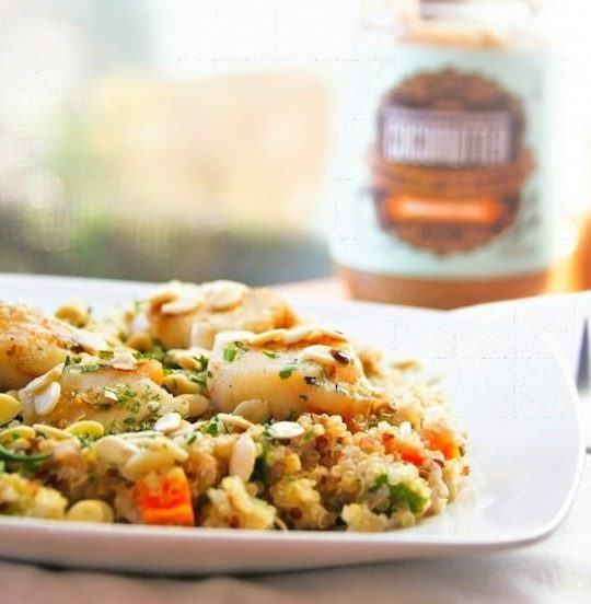 A sweet and savory twist on your regular old stir fry! Yep, coconut butter stir fried quinoa with veggies and scallops. Trust me, it's delicious, gluten free, and nutritious! www.cottercrunch.com