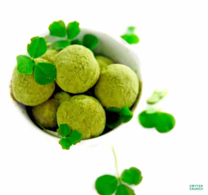 Snack healthy with these gluten free Lucky Shamrock Protein Bites (aka Healthy Bites). They are packed with antioxidants, good fats, and protein. Not to mention tasty! www.cottercrunch.com