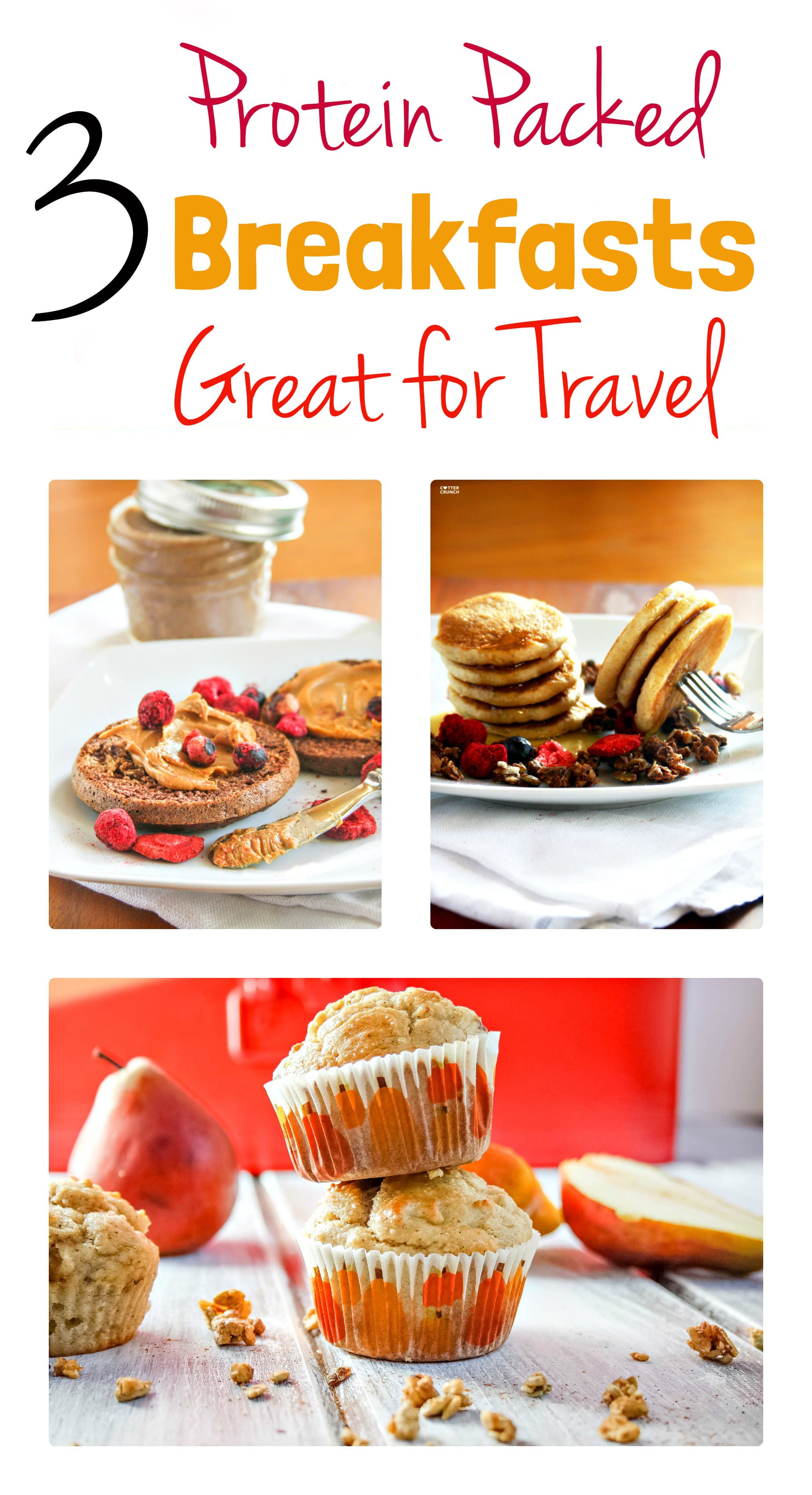 3 Portable Gluten Free Breakfasts with Protein. These recipes are great for travel! On the go, in air, or on the road! Easy to make and simply delicious. www.cottercrunch.com