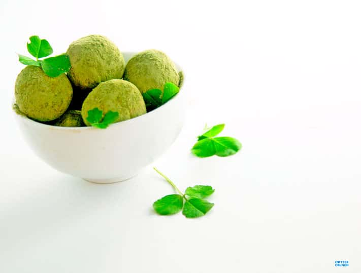 Snack healthy with these gluten free Shamrock Shake Protein Bites (aka Healthy Bites). They are packed with antioxidants, good fats, and protein. Not to mention tasty!