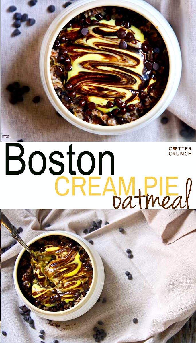"Boston Cream Pie Oatmeal is a tasty ""healthified"" and gluten free version of Boston Cream pie, made with natural ingredients. This easy oatmeal recipe is packed with protein and good fats! Breakfast in 10 minutes or less."