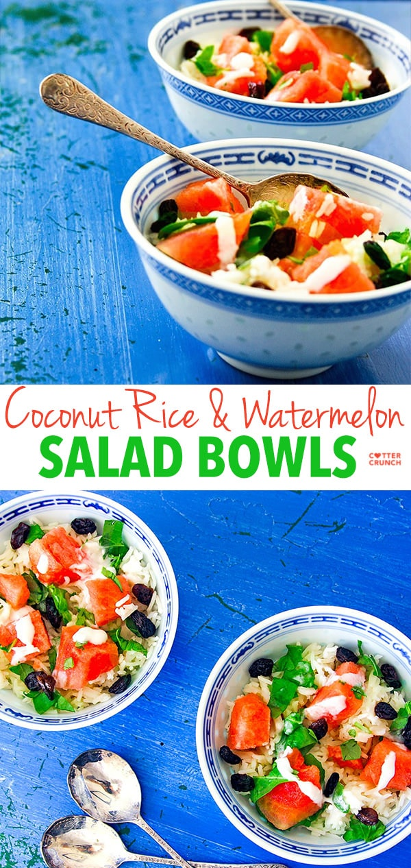 Watermelon salad bowls are the perfect nourishing, gluten free meal. Coconut cream, jasminerice, watermelon and raisins combine to create an amazing bowl of nourishment! Light, refreshing, and delicious!