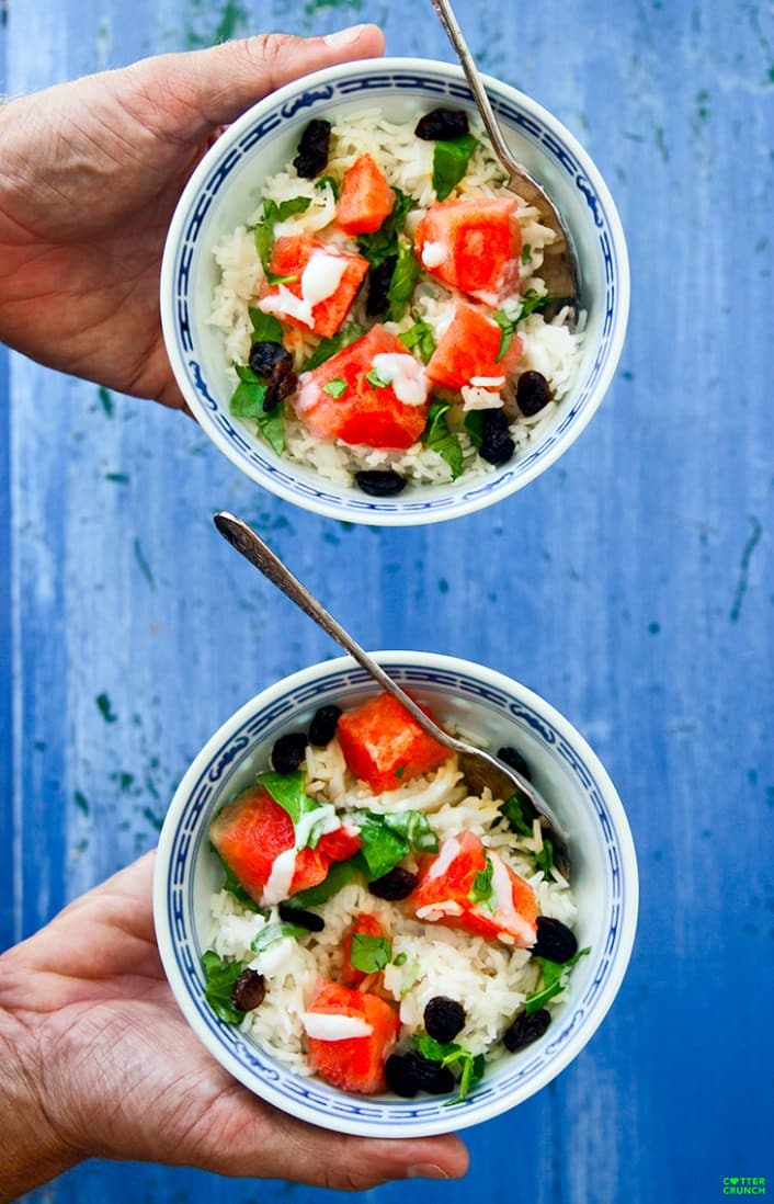 Watermelon salad bowls are the perfect nourishing, gluten free meal. Coconut cream, jasmine rice, watermelon and raisins combine to create an amazing bowl of nourishment! Light, refreshing, and delicious!
