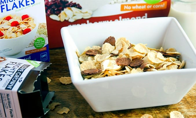 love grown foods power flakes cereal made with beans! @lovegrownfoods