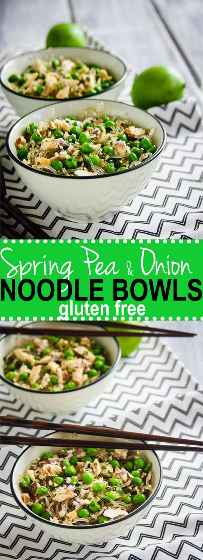 Spring Pea and Onion Gluten Free Noodle Bowls; a light but flavorful Spring dish! Made gluten free with vermicelli rice or kelp noodles and great with seafood, chicken, or tofu! Ready in 30 minutes or less.