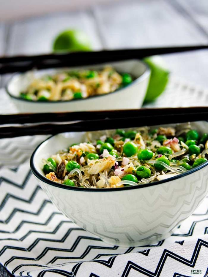 Spring Pea and Onion Gluten Free Noodle Bowls; a light but flavorful Spring dish! Made gluten free with rice or kelp noodles and great with seafood, chicken, or tofu! Ready in 30 minutes or less.
