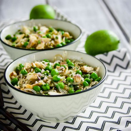 Spring Pea and Onion Gluten Free Noodle Bowls