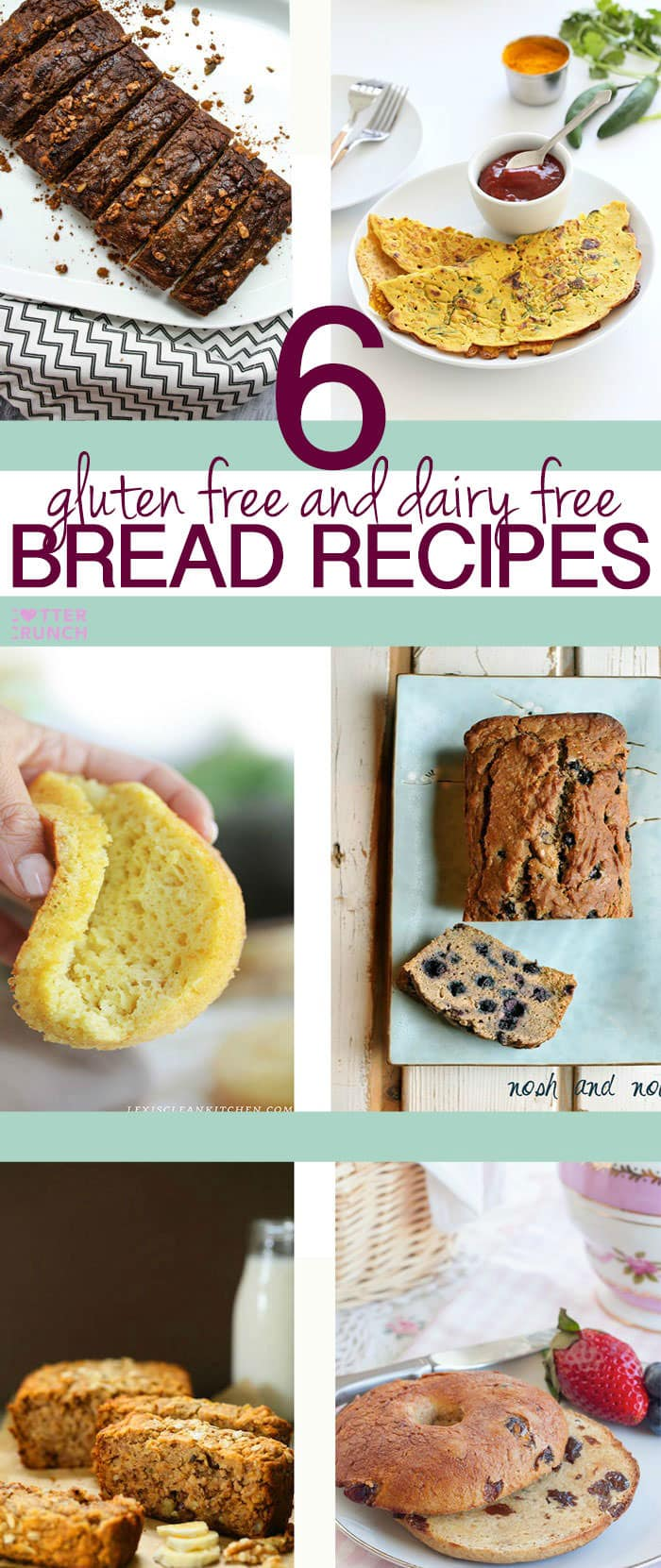 Looking for an allergy friendly bread recipe that actually tastes good? Here's a great round up of 6 healthy gluten free and dairy free bread recipes, bagels, and pancakes!