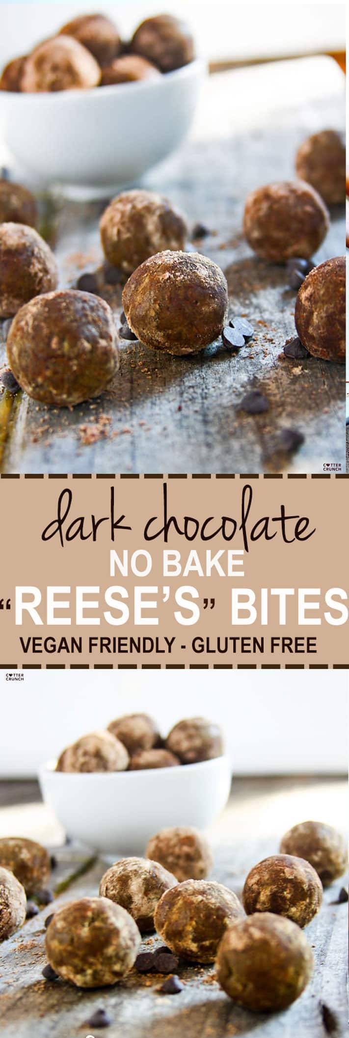 grain free dark chocolate cocoa Reese's protein bites recipe! a superfood snack that's delicious, no bake, and protein packed! Real food ingredients that taste REAL GOOD! #vegan friendly