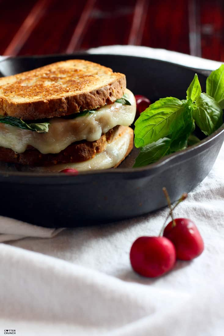 "Gluten Free Grilled Cheese with fresh cherries, basil, and provolone cheese. A healthy ""gourmet"" recovery meal with good carbs, protein, fats and anti-inflammatory rich nutrients. A fun twist on the original grilled cheese sandwich that your whole family will love, kids included!"