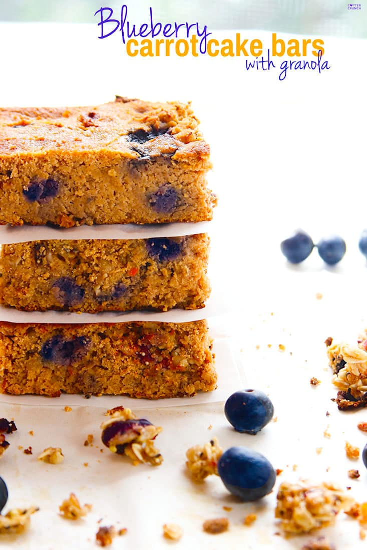 Blueberry Carrot Cake Breakfast Bars. A healthy breakfast bars recipe made in less than 35 minutes! Fresh blueberry, granola, carrot, and spices! Made with gluten free ingredients, natural sugars, and a little extra protein boost.