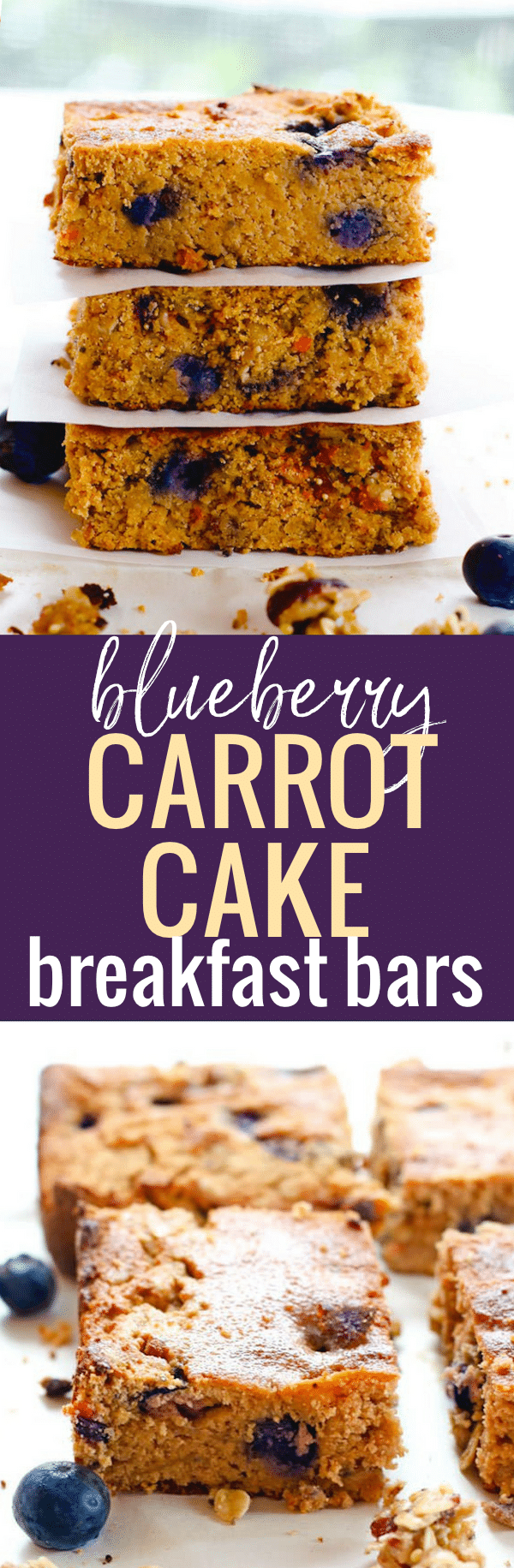 Blueberry Carrot Cake Bars. A healthy breakfast bar recipe made in less than 35 minutes! Fresh blueberry, granola, carrot, and spices! Made with gluten free ingredients, natural sugars, and a little extra protein boost.