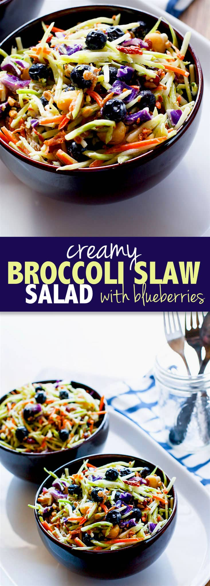 Perfectly Creamy and Tart Broccoli Slaw Salad with Blueberries. It's packed with antioxidants and probiotics! The tang comes from using a kefir yogurt blend instead of mayo. Which also makes it healthy and gut friendly. Super clean eating with great flavor!
