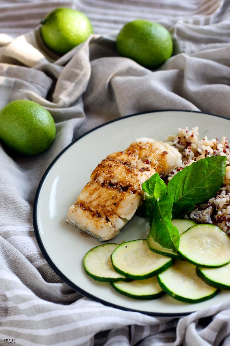 Ginger Lime Tamari gluten free baked cod recipe. Flavorful, healthy, and ready in 15 minutes. A great Spring or Summer meal! Plus more ways to season fish.