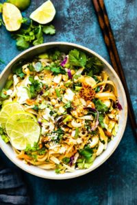 Spicy Thai Rice Noodle Salad {Vegan Option}