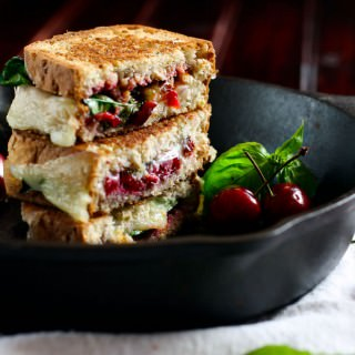 Gluten Free Grilled Cheese with Cherries, Basil, and Provolone