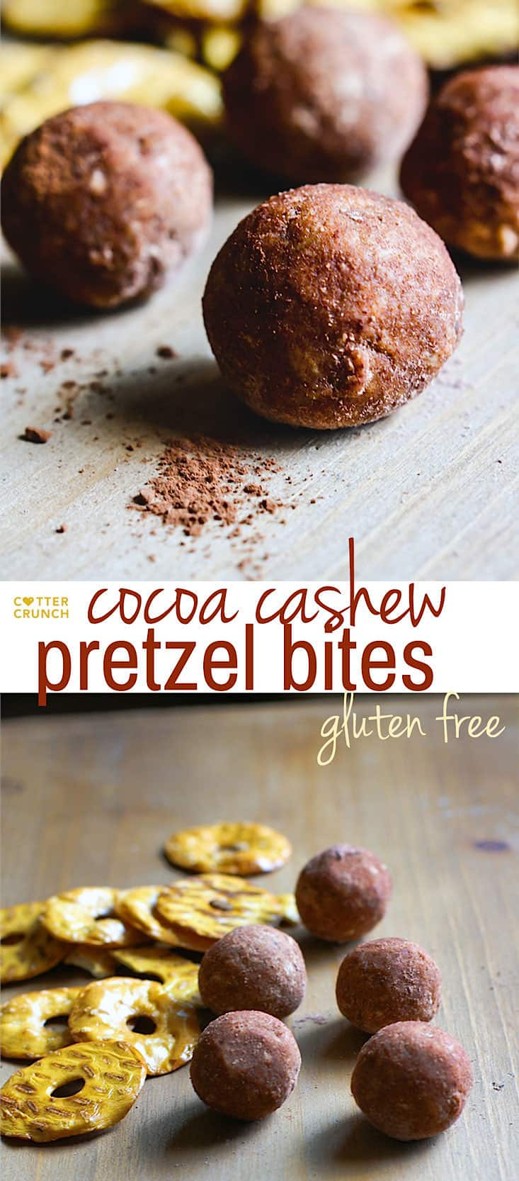 Cocoa Cashew Pretzel Gluten Free Energy Bites! A sweet and salty combo that takes snacking to a whole new level! Dark Cocoa, Cashews, honey, peanut butter, and gluten free pretzel chips all packed into one healthy energy bite! Great for kids, post workout refueling, or just as an afternoon snack!
