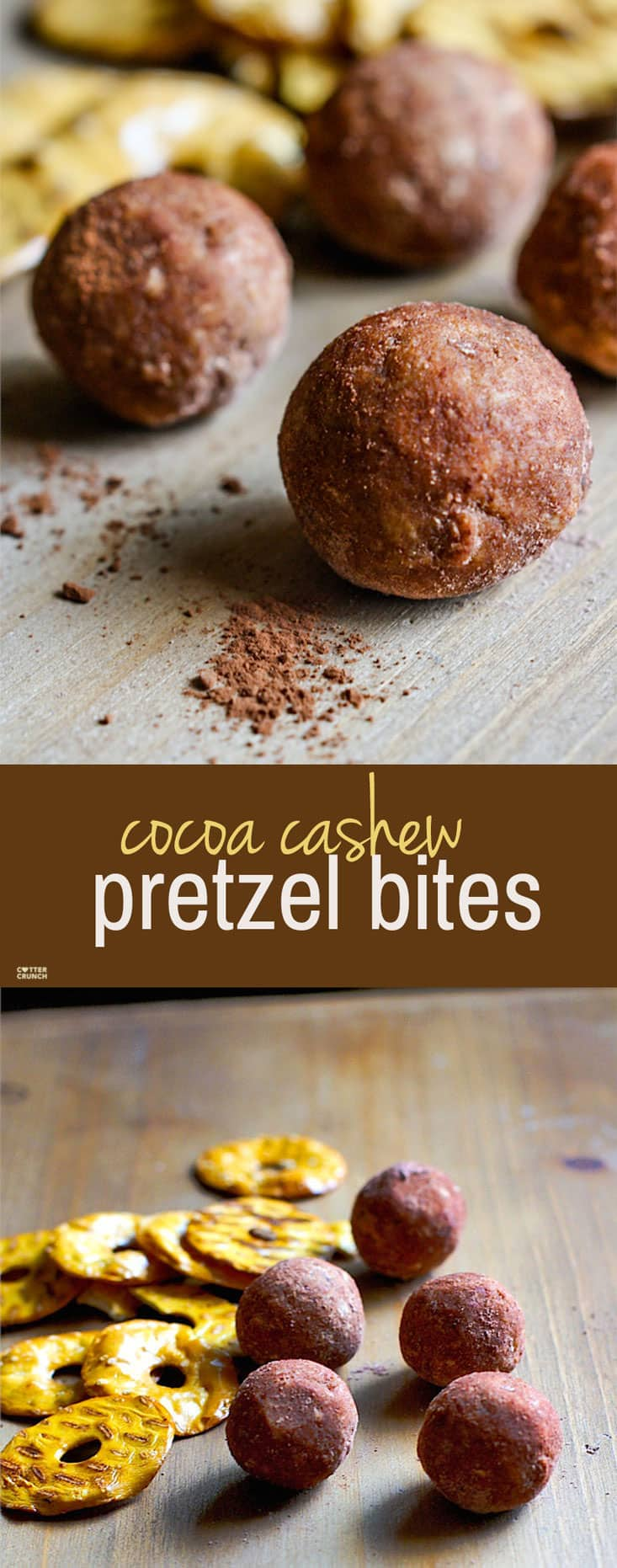 Cocoa Cashew Pretzel Gluten Free Energy Bites! A sweet and salty combo that takes snacking to a whole new level! Dark Cocoa, Cashews, honey, peanut butter, and gluten free pretzel chips all packed into one healthy no bake energy bite! Great for kids, post workout refueling, or just as an afternoon snack!
