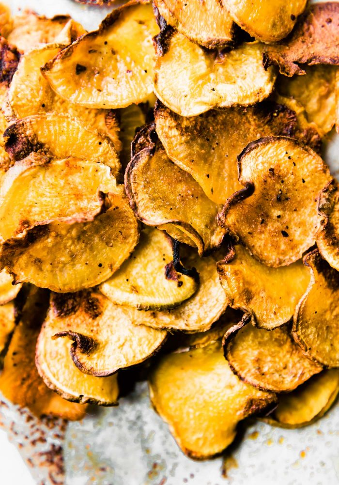 Gluten free BBQ Baked Rutabaga Chips! Healthy flavorful side dish for Summer BBQ's or any time of year! Rutabaga is a root vegetable that's easy to bake and cook with! These chips are super tasty and quick to make. #paleo #vegan and #whole30 friendly EAT UP!