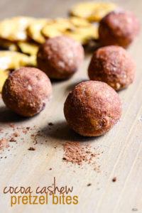 No Bake Gluten Free Cocoa Cashew Pretzel Energy Bites