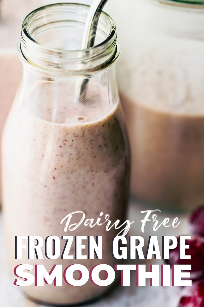frozen grape smoothie in bottle with title