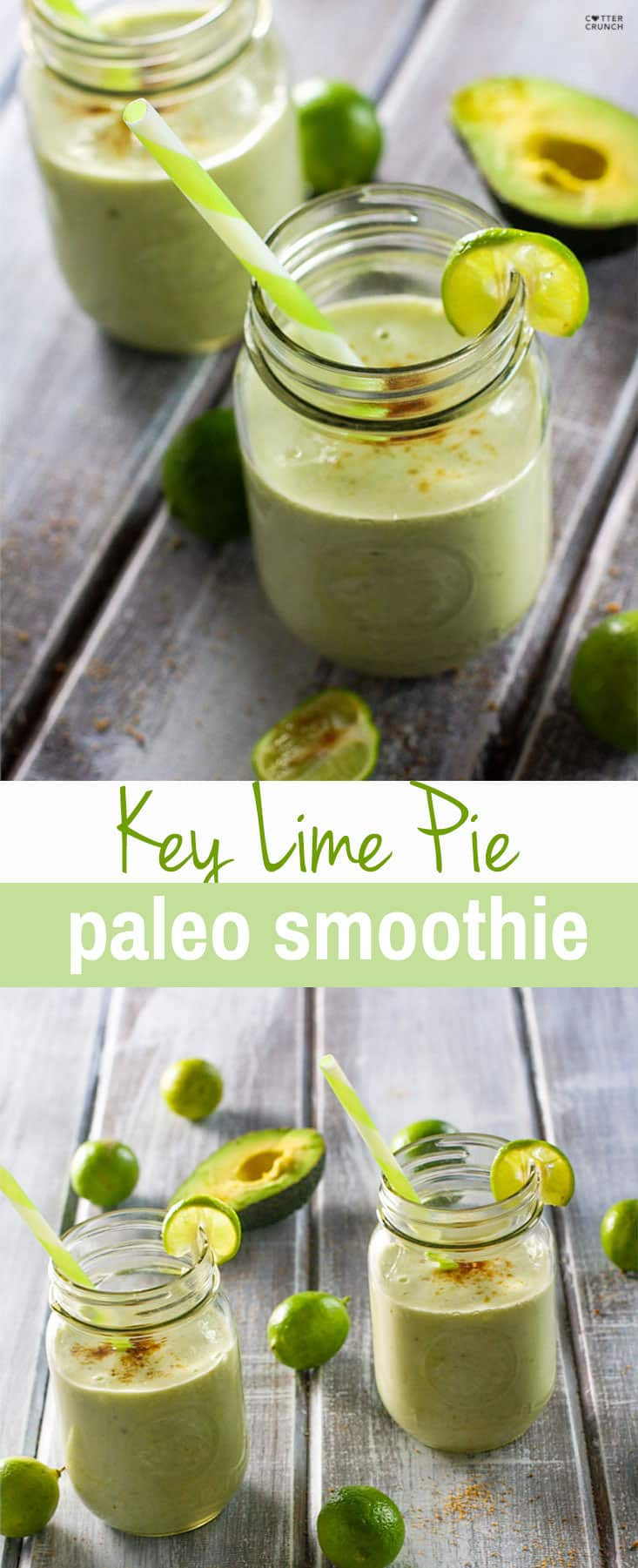 Creamy and naturally sweetened Paleo Key Lime Smoothie! Gluten free and dairy free but still tastes like dessert. A Healthy Smoothie packed with nutrients! Great for breakfast, snacking, and soothing for your digestion!