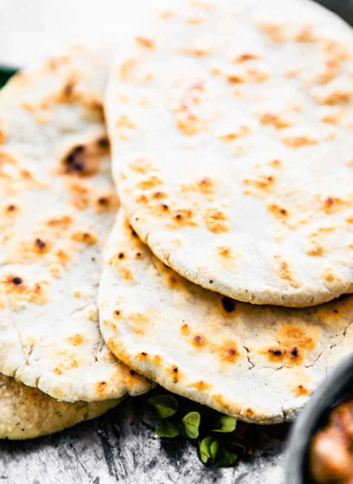 Grain Free Naan with Cassava Flour! close up of edge of bread