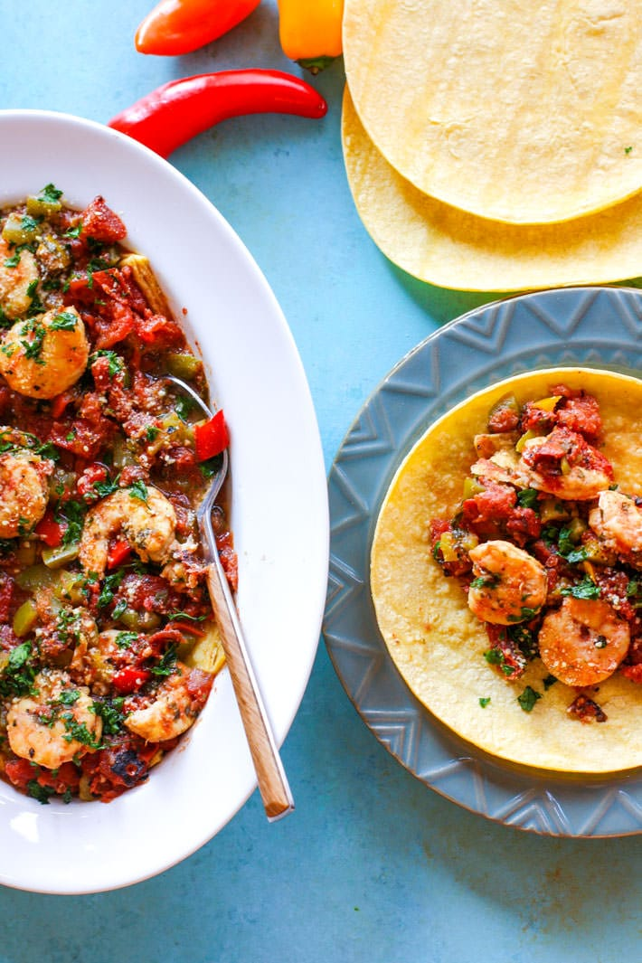 Gluten Free Crock Pot Fire Roasted Shrimp Tacos! We love making crock pot tacos. This recipe requires little prep, but produces tons of flavor and nutrients! Great for busy days and easy dinners!