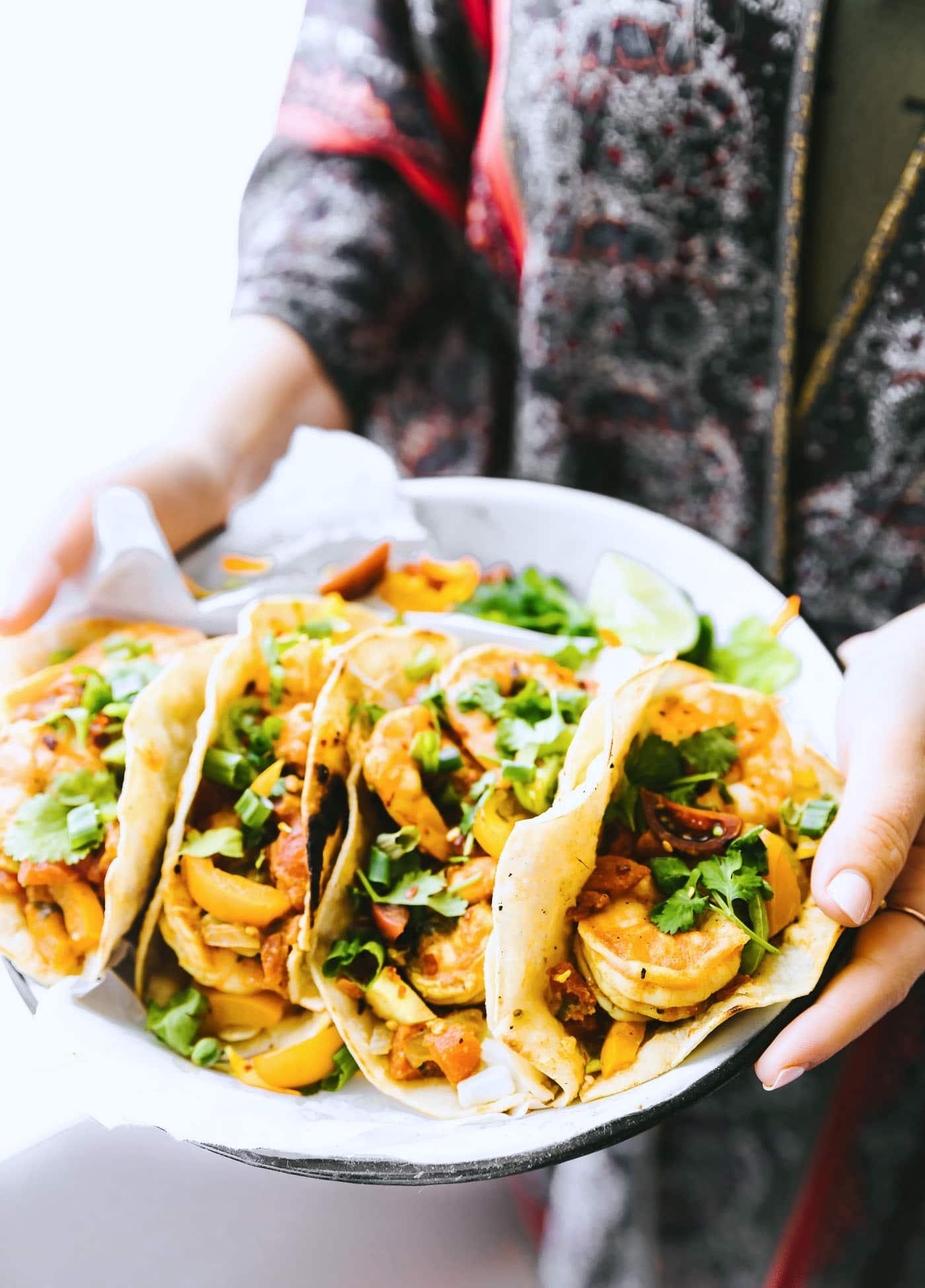 Gluten Free Crock Pot Fire Roasted Shrimp Tacos in plate