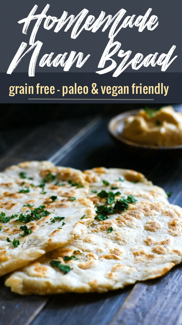Grain Free Naan Bread with Cassava Flour! A simple and flavorful Middle Eastern bread recipe, made grain free and in 20 minutes or less! No oven required, just a skillet and few simple ingredients. Great with hummus, yogurt sauce, or by itself. Paleo and dairy free option.