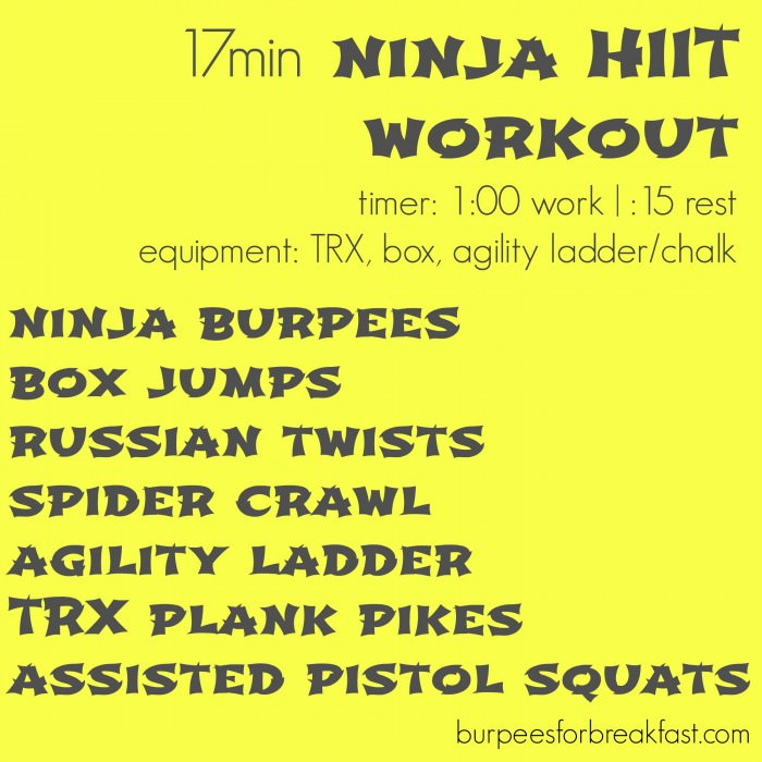 http://www.burpeesforbreakfast.com/2014/10/03/17-minute-ninja-hiit-workout/