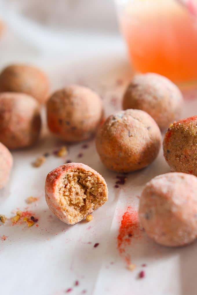 Kid Friendly Pink Lemonade Protein Bites