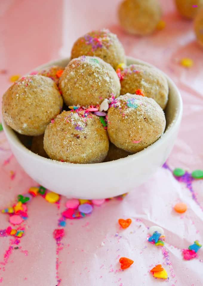 spring-sprinkle-bites - gluten free, grain free, kid friendly no bake snack!