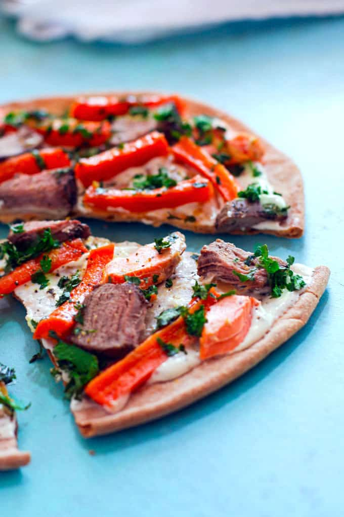 surf and turf flatbread on @udisglutenfree pizza crust. plus These 6 unique recipes for using flatbread are not only a great base and use for leftovers, but also easy crowd-pleasers! Gluten free, grain free, vegetarian, vegan, and easy to make.