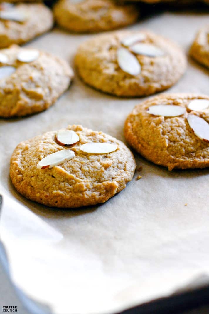 Grain Free and Paleo friendly cinnamon spiced almond sugar cookies! Made with healthy fats, coconut sugar, cinnamon, almonds, and taste like the real deal! Perfect FALL baking made healthy! A cookie recipe that you can enjoy for snacking or dessert. In fact, because they are grain free and made with natural coconut sugar, they would be great anytime year! A treat to satisfy your sweet tooth without the guilt!