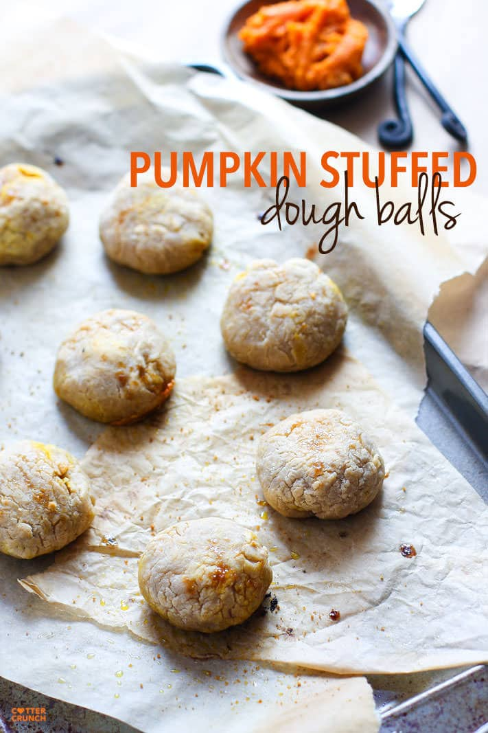 Healthy Pumpkin Stuffed Dough Balls; 2 Ways! An easy pumpkin filled snack that you can make in 30 minutes. Sweet or savory, you choose! All you need is your choice of milk, gluten free flour, and filling! Great for holidays, appetizers, snacks, and breakfast to go, etc. Paleo or Vegan Friendly.