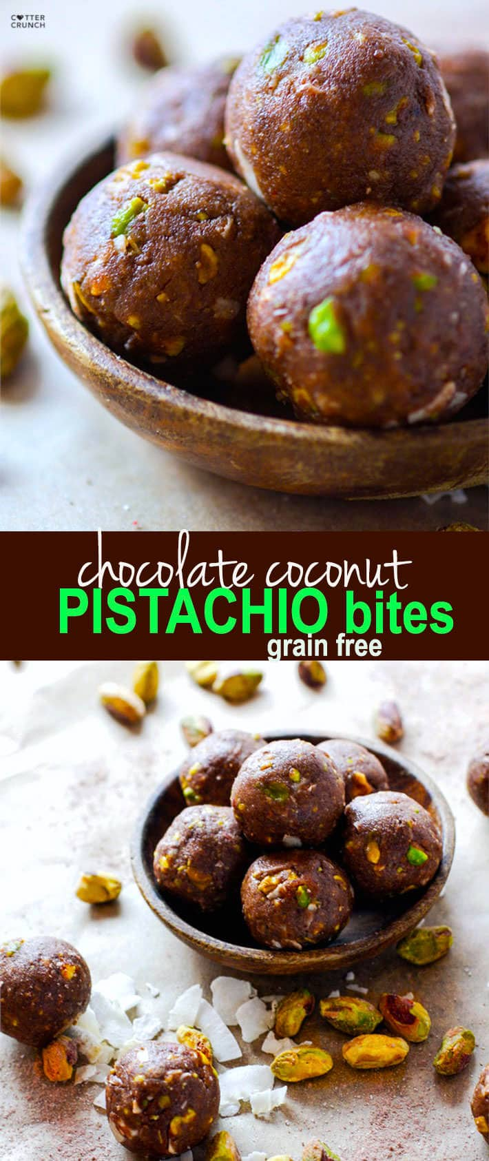 Paleo and Vegan friendly Dark Chocolate Coconut Pistachio bites! A crunchy, lightly sweet, delicious snack BITE that requires no baking! These little chocolate bites are naturally sweetened and packed healthy fats! @cottercrunch