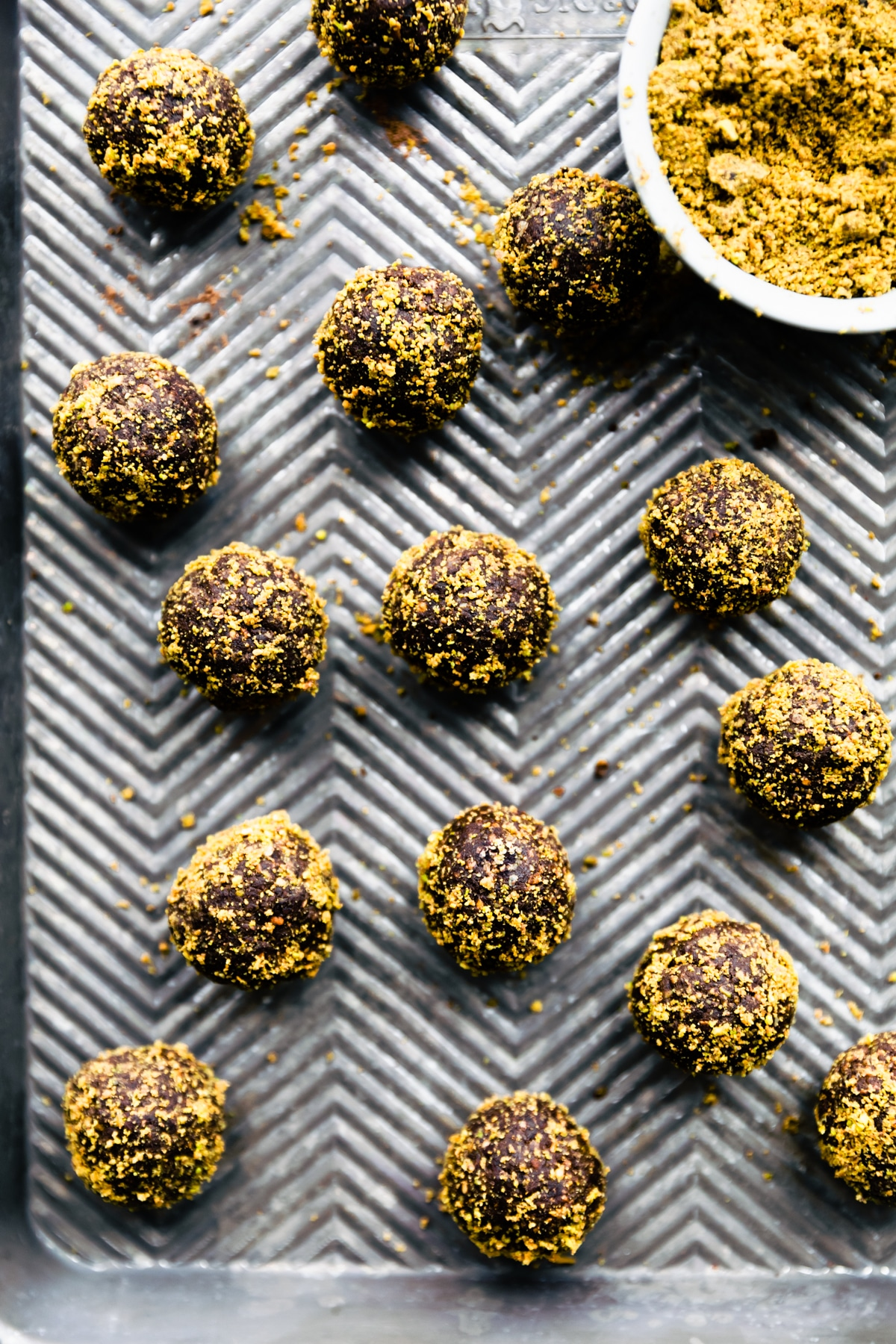 protein balls on sheet pan with coating