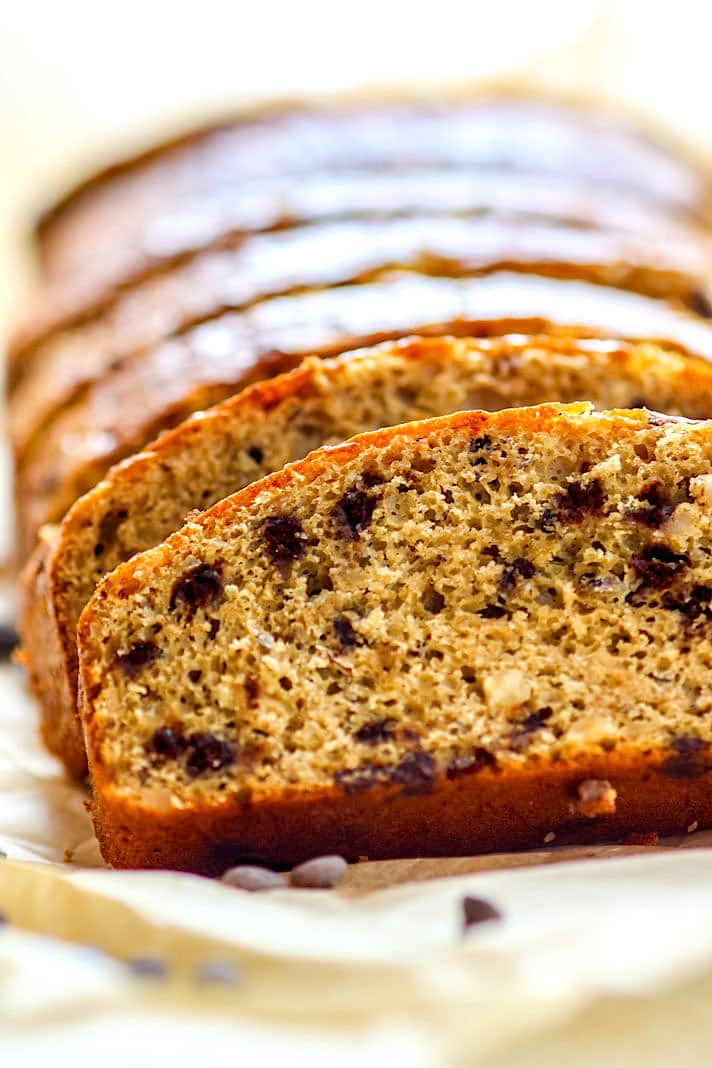 """Gluten Free Chocolate Chip pancake bread. This pancake """"quick bread"""" is super easy to make with minimal ingredients. Use it for breakfast or dessert. Can easily be made paleo and dairy free! YUM!"""