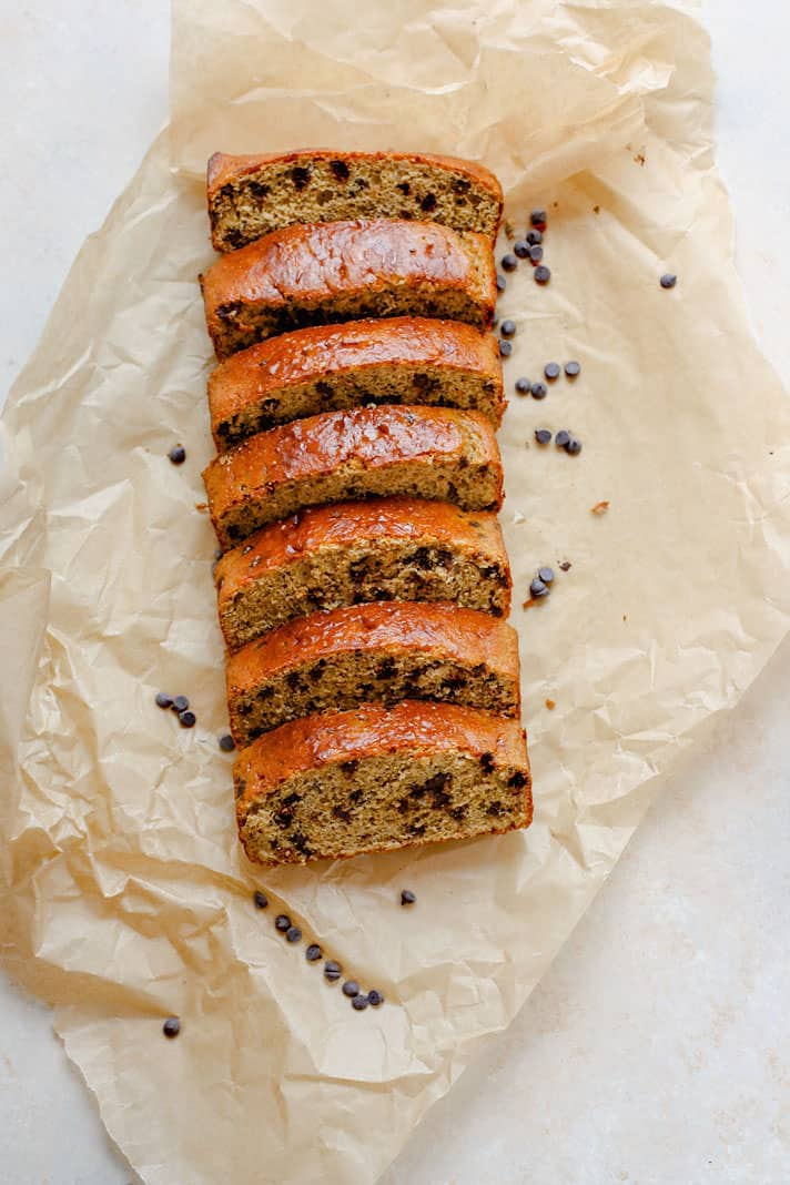 """pancake-bread2Gluten Free Chocolate Chip pancake bread. This pancake """"quick bread"""" is super easy to make with minimal ingredients. Delicious, healthy, and great for desserts, breakfast, or on the go snacking!"""