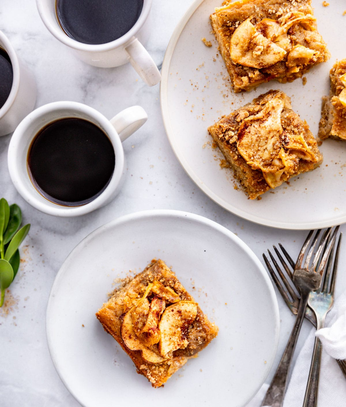 cake on plate with coffee