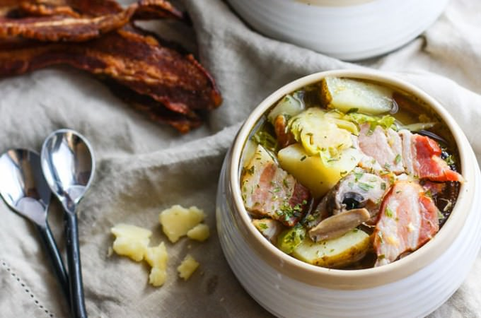 This smoked bacon veggie soup is gluten free and grain free, and packed with simple, wholesome ingredients and flavor. Easy to make in a slow cooker, too! Get the recipe at CotterCrunch.com