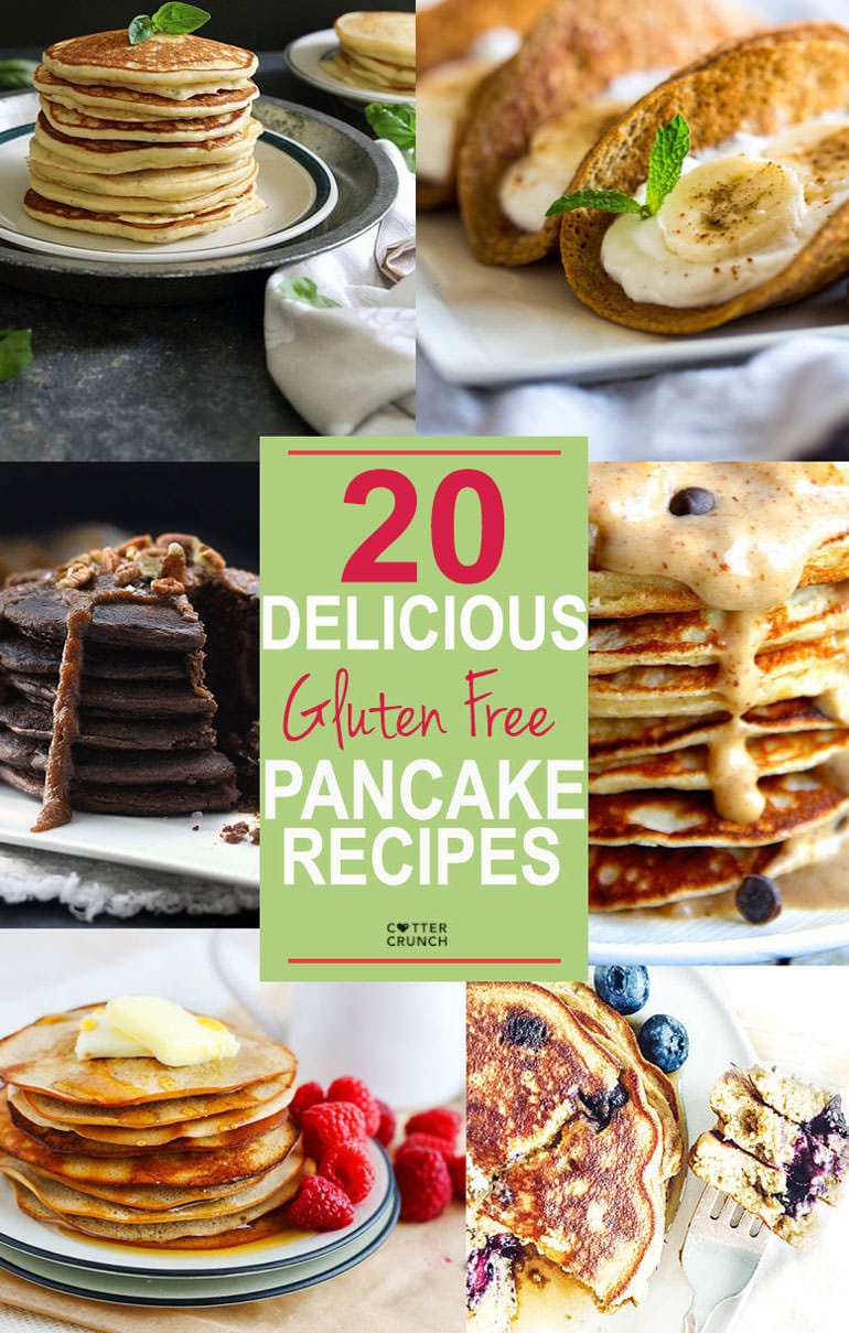 20 delicious and healthy gluten free pancake recipes! These recipes range from vegan, dairy free, paleo, protein packed, and grain free. All tasty and fun to make for breakfast, brunch, or brinner!