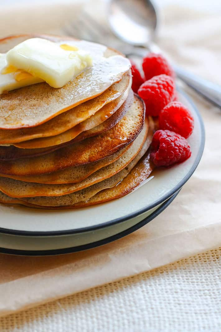 Healthy and gluten free Swedish pancakes! In the oven! Easy to make, bake, and clean up. Plus they are perfect for company or big family breakfast!
