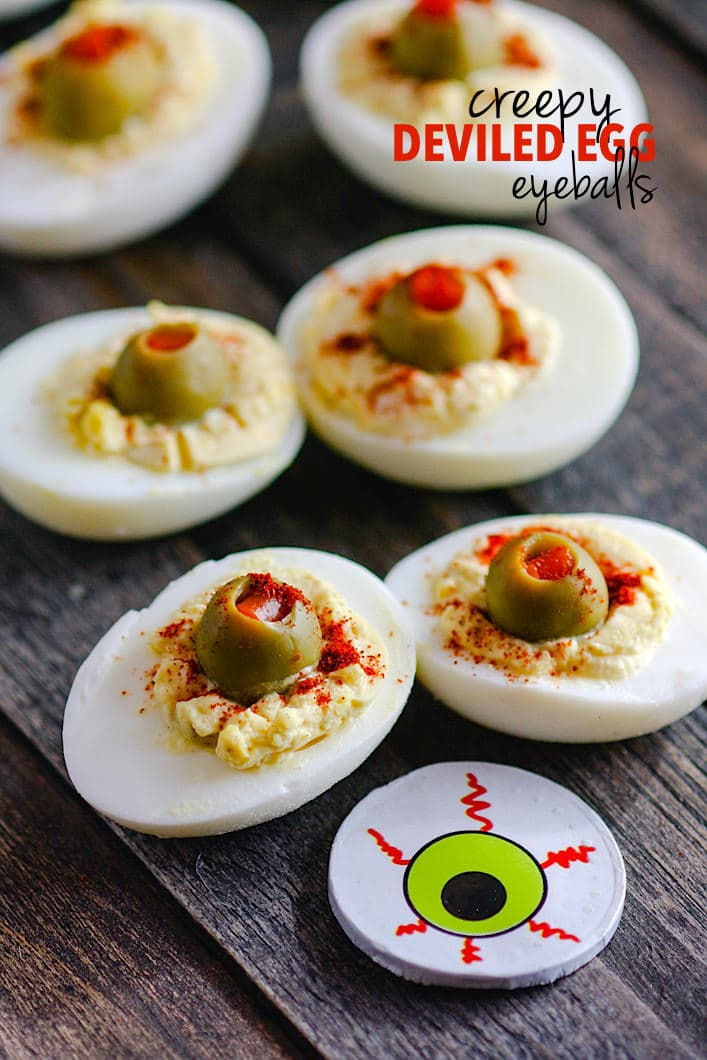 This tasty appetizer is commonly known, but my version is spooky for Halloween. Deviled eggs made to look like blood shot eyeballs! All you need are green olives, spices, eggs, and your favorite paleo condiment to mix in! Deviled egg eyeballs a favorite with the kids (and adults) at Halloween parties but also easy to make and healthy! Recipe -- http://bit.ly/eggeyeball